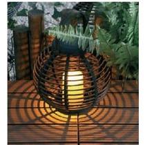 Luminária Solar Led Kit 8 Unidades (cesta Redonda Com Vela)