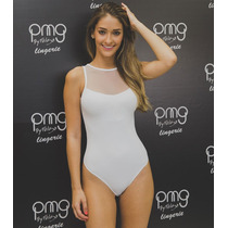 Body Decote De Tule Tiras Nas Costas- Branco (pmg) Original