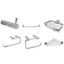 Kit Acessórios De Banheiro 100% Metal Cromado Aço Inox