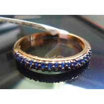 Bzb-anel Meia Aliança Zirconias Azuis-folheado Ouro(70mmplat
