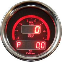 Velocimetro Digital Com Odometro E Conta Giros 85mm Guster