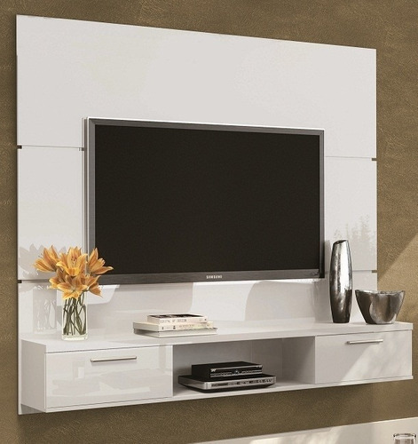 Sala Com Tv No Painel ~ Painel Suspenso Flat Branco Tv Led Plasma Sala Hb Móveis  R$ 449,00