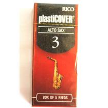 Palheta Sax Alto Rico Plasticover Nº 3 Caixa Com 5 Unidades