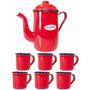 Kit Café Com Bule Esmaltado 1,25 Litros + 6 Xicaras 70 Ml