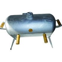 Churrasqueira Aluminio Batido Redonda Com Pé A Bafo Carvão