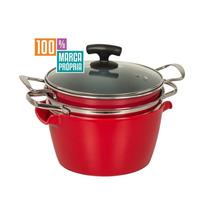 Espagueteira Vermelha 4l 24cm De Alumínio Com Tampa De Vidro