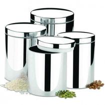 Conjunto De Potes Para Mantimentos 4 Pcs Brinox Em Aço Ino