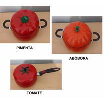 Kit Com 3 Panelas Formato Abóbora- Pimenta- Tomate- Vaquinha