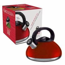 Chaleira Aço Inox Retrô Colors Vermelha 3 Litros Euro Home