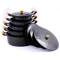 Jogo Panelas Aluminio Batido Craqueado 5 Pçs Maiores 20 À 28