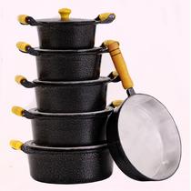 Jogo De Panelas Aluminio Batido Craqueado 5 Pçs + Frigideira