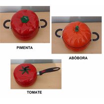 Kit 3 Panela Formato Abóbora -pimenta -tomate Esmaltada 1.2l