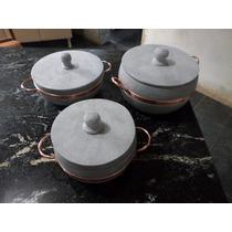 Kit Panela Pedra Sabão Direto Da Fabrica 5l; 3l ; 1,5l