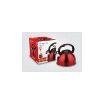 Chaleira Inox Vermelha Com Apito Eirilar 2,5 Lts