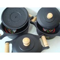 Jogo De Panela 3 Unidade Ferro Fundido Luxo Utencili Cozinha