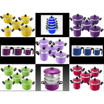 Conjunto Kit Jogo Panelas Coloridas Em Aluminio E Craqueadas