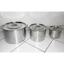 Conjunto De Panelas 3 Peças Em Aço Inox - Cozinha Industrial