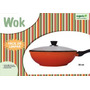 Panela Wok 30cm Revestimento Cerâmica Tampa De Vidro Organic