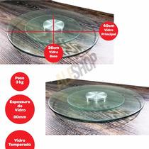 Prato Giratório De Vidro Temperado 40cm Fondue Glass