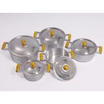 Jogo De 5 Panelas Aluminio Batido Pegadores Madeira Marfim