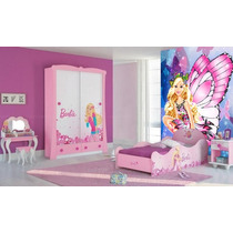 Papel De Parede Infantil Barbie - Fosco Luxo - M²