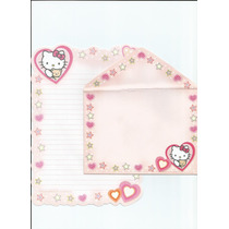 Kit Papel De Carta Rosa Coleção Hello Kitty Com Envelope