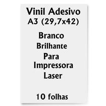 Vinil Adesivo A3 Branco Brilhante Impressora Laser 10 Folhas