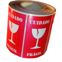 Etiqueta Selo Fragil Taça Transportemercadorias - 500 Uni