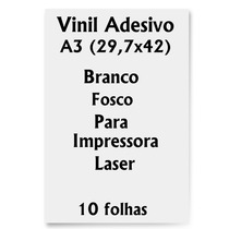Vinil Adesivo A3 Branco Fosco Impressora Laser 10 Folhas