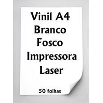 Vinil Adesivo A4 Branco Fosco Impressora Laser 50 Folhas