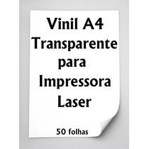 Vinil Adesivo A4 Transparente Impressora Laser 50 Folhas