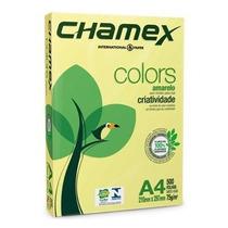 Cx Papel Sulfite Chamex A4 C10 Resmas 500 Fls Colors Amarelo