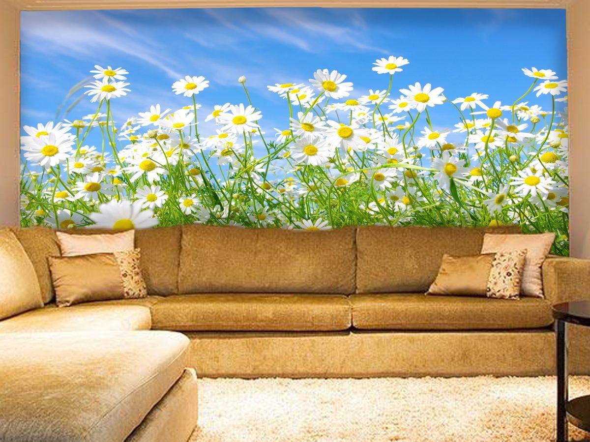 Papel de parede paisagem flores floral campos de flores m for Papel de decoracion para paredes