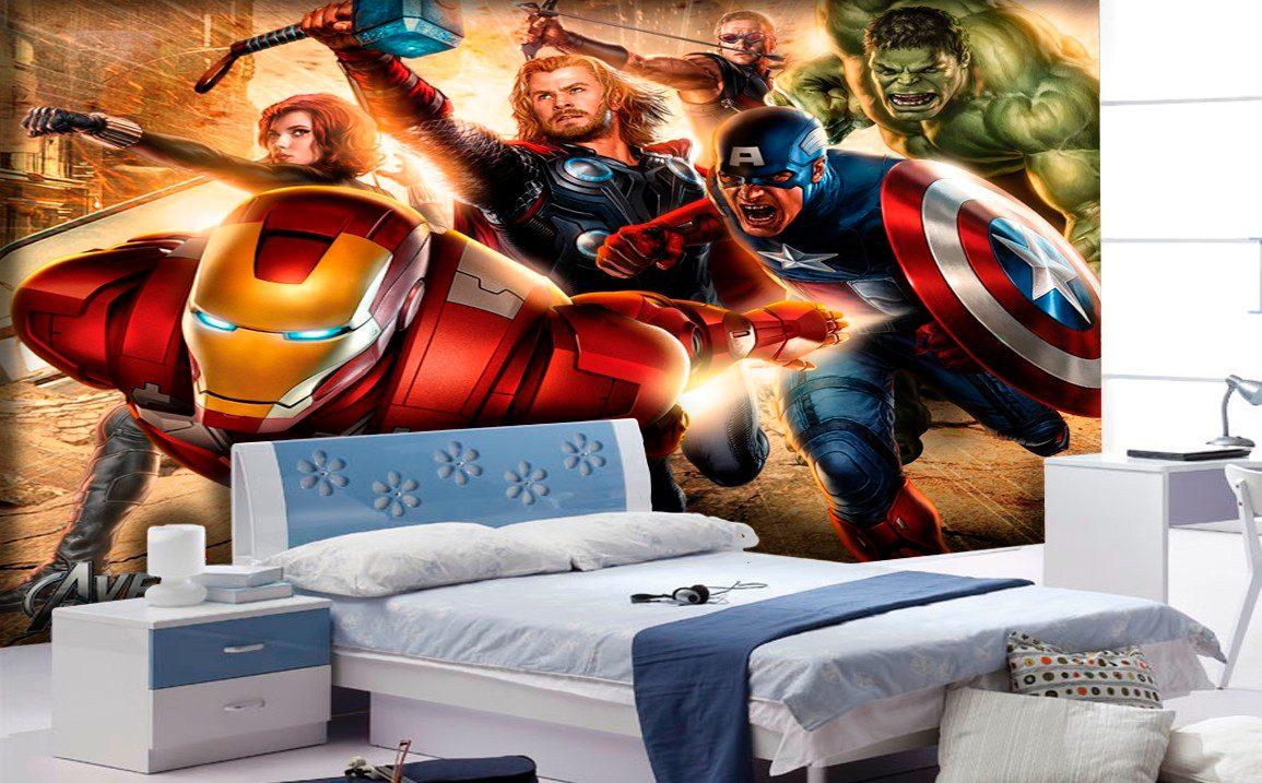 Papel De Parede Para Quarto Herois ~ Papel De Parede Vingadores Her?is Marvel Iron Man Thor M?  R$ 39,90