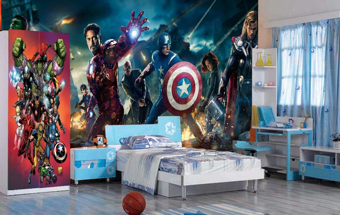 Cortina Para Quarto Dos Vingadores ~ Papel De Parede Vingadores Her?is Marvel Iron Man Thor M?  R$ 39,90
