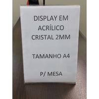 Display A4 - Acrílico 2mm Porta Folha Sulfite - Balcão Mesa