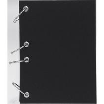 Caderno Pequeno Argolado Fichário Liso Preto 170x230 192 Fls