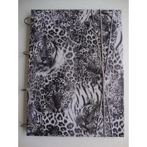 Caderno Argolado Fichário Oncinha/tigre Animal Luxo 96 Folhs