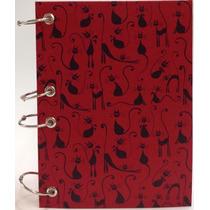 Caderno Pequeno Argolado Fichário Vermelho Gato 170x230 192f