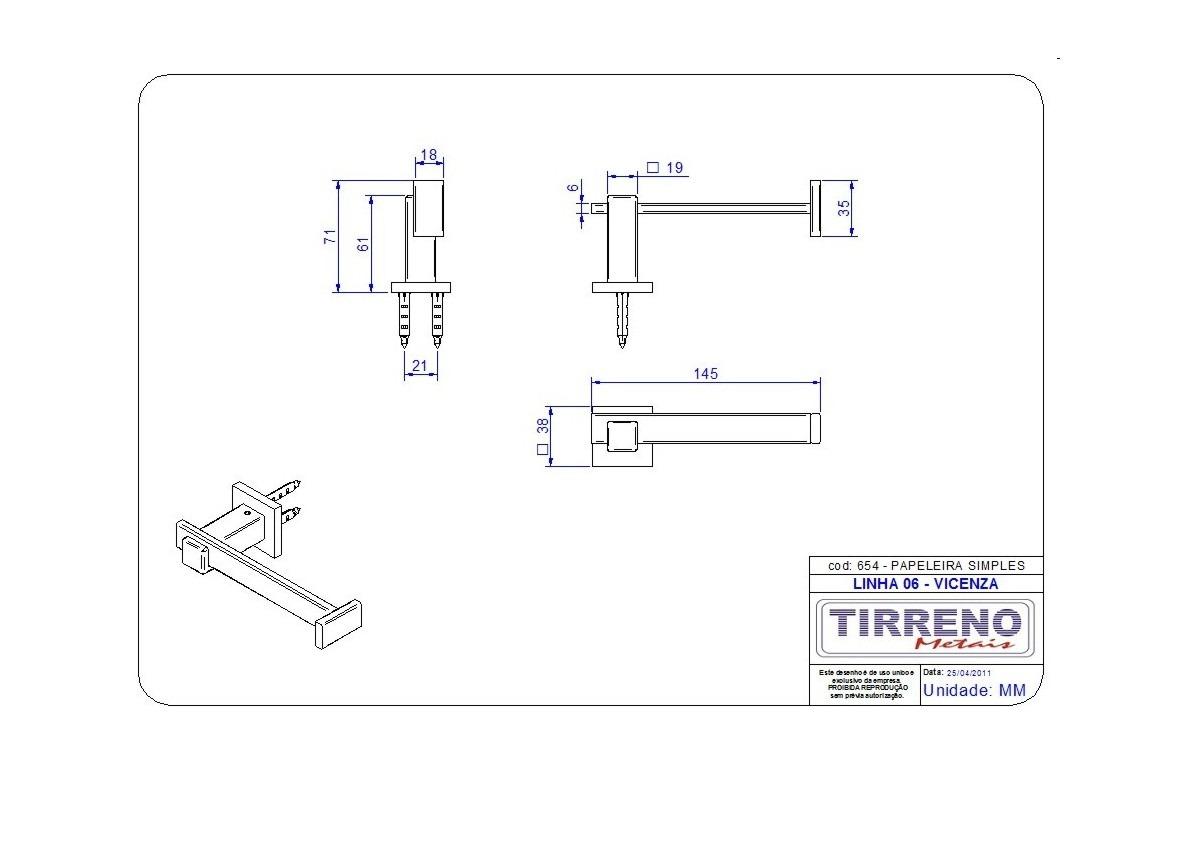 Papeleira Para Banheiro Tirreno Vicenza R$ 105 00 no MercadoLivre #983833 1191 842