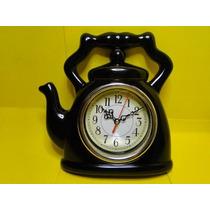 Relógio De Parede Cozinha Gourmet Chaleira Preto