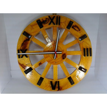 Relógio De Parede Romano Grande 44 Cm Tipo Roda De Carroça