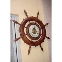Relógio De Parede Em Madeira Timão De Barco - Quartz