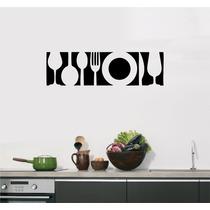 Adesivo Decorativo Cozinha Papel Parede Faixa Talheres