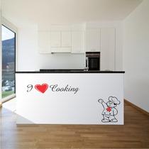 Adesivo Decorativo Cozinha Papel Parede Eu Amo Cozinhar+chef