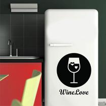 Adesivo Decoração Cozinha Geladeira Taça Vinho Frase Wine
