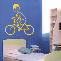 Adesivo Decorativo Menino De Bicicleta - Tamanho Grande