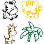 Adesivo Decorativo Parede Infantil Animais Girafa Leão Zebra