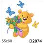 D2074 Adesivo Decorativo Urso Ursinho Coração Infantil Flor