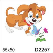 D2257 Adesivo Decorativo Cachorro Cachorrinho Flor Infantil